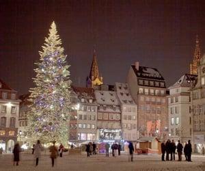 buildings, christmas, and christmas tree image