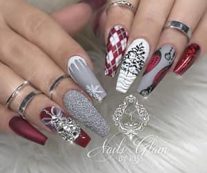red nail, glitter nail, and christmas nail image