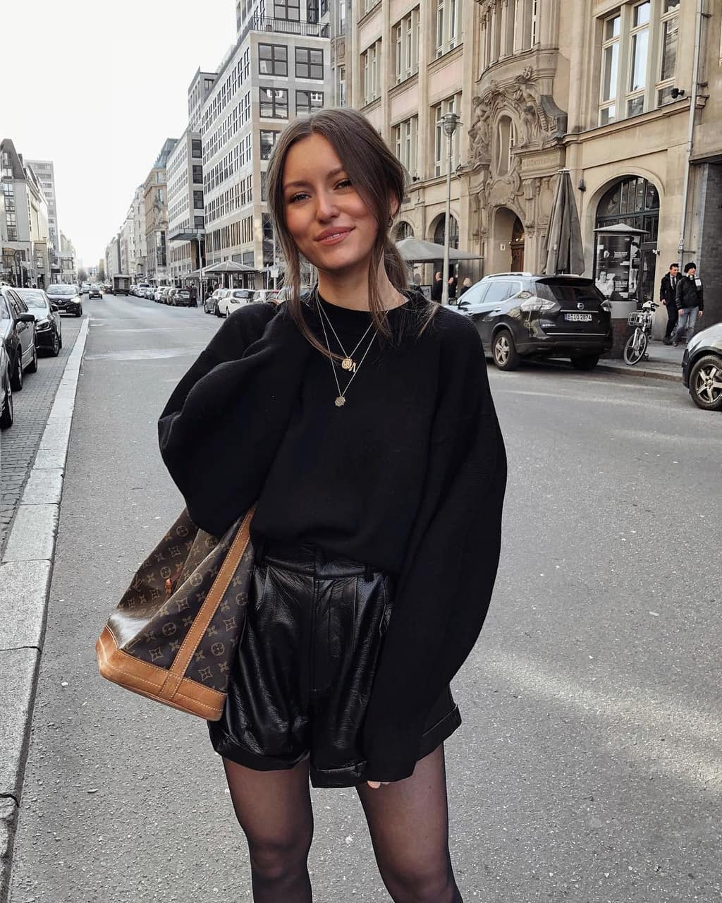 blogger, LV, and leather short image