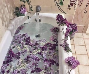 flowers, purple, and bathtub image