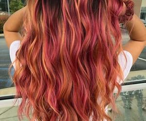 orange hair, pink hair, and pink-orange hair image