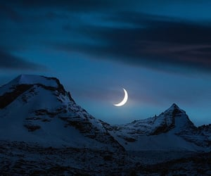 moon, night, and mountains image
