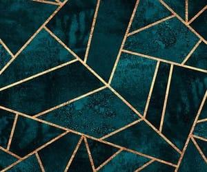 geometric, gold, and dark green image