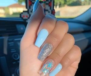 blue, acrylic nails, and christmas image