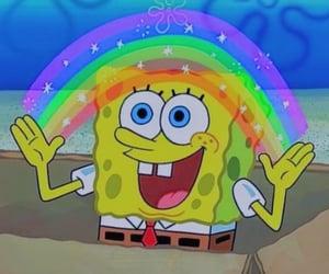 spongebob and rainbow image