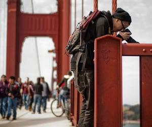photography, boy, and bridge image