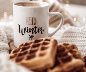 winter, waffles, and coffee image