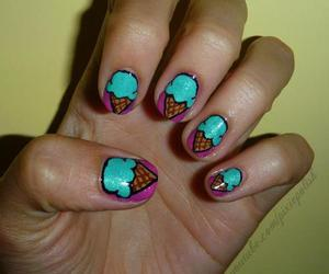 colorful, nails, and ice cream image