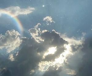 sky, rainbow, and blue image