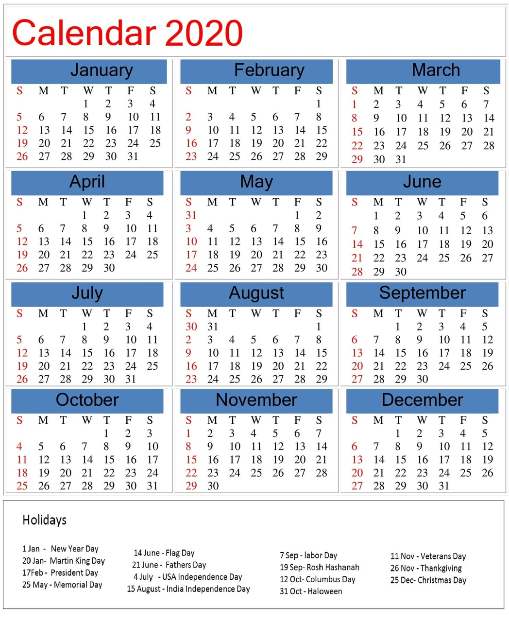 Printable 2020 Calendar With Holidays On We Heart It