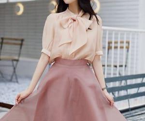 blouse, skirt, and feminine image