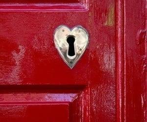 red, heart, and door image