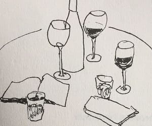art, drawing, and wine image