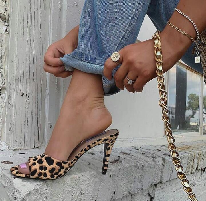 heels and leopard print sandal image