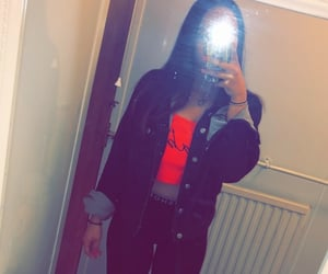 babe, jean jacket, and leggings image