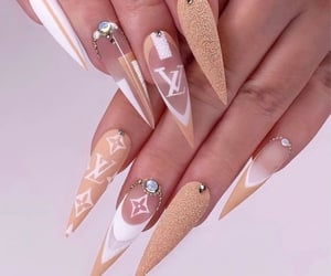 nails, glitter, and Louis Vuitton image