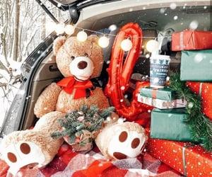 christmas, snow, and bear image