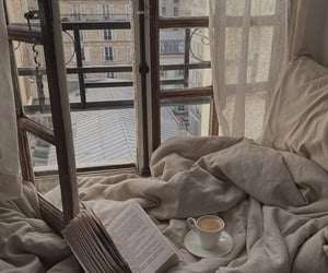 book, bedroom, and coffee image
