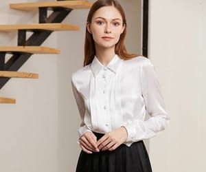 blouse, white blouse, and modest image