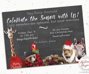 etsy, woodland creatures, and christmas invitation image