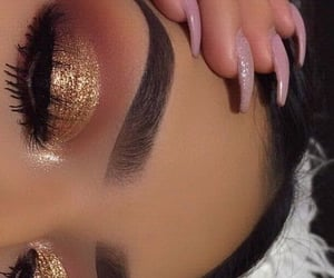 beauty, girl, and gold glitter image