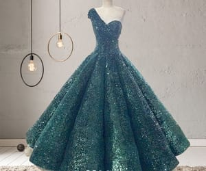 green dress, prom dress, and sparkly dress image