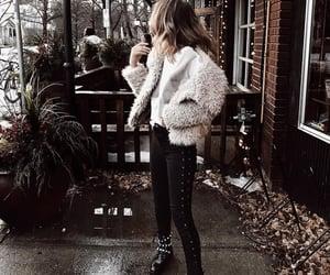 dark, fashion, and fur coat image