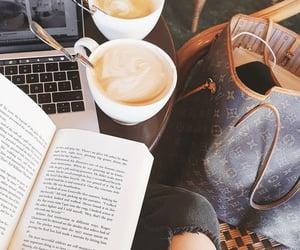 bag, book, and coffee image
