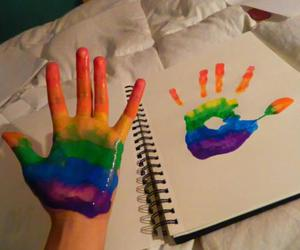 rainbow, hand, and cute image