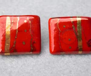etsy, red and gold, and red earrings image