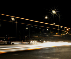 car, light trails, and night time image