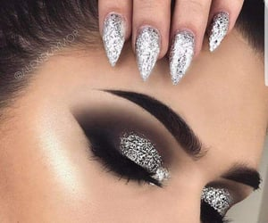 makeup, nails, and glitter image