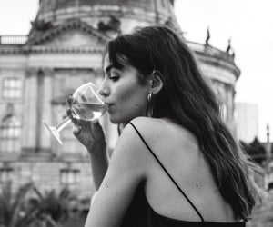 girl, black and white, and wine image
