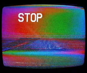 glitch, pixelated, and stop image