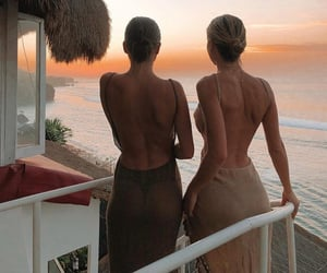 dresses, ocean, and paradise image