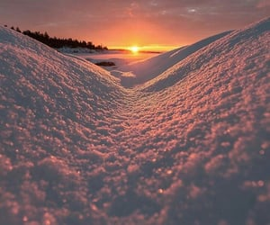 snow and sunset image