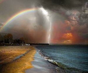 nature, rainbow, and beach image