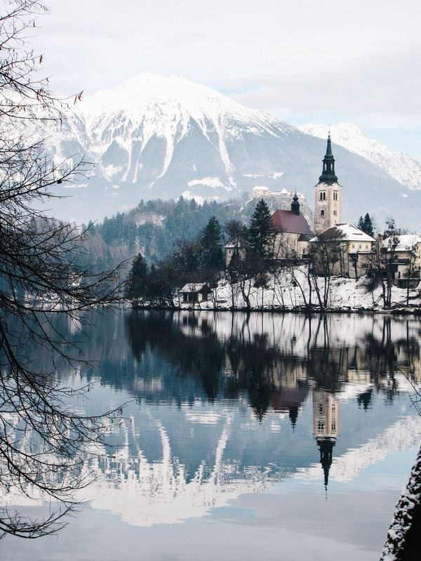 Beautiful City View Of Lake Bled Slovenia