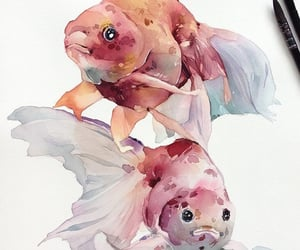 art, drawings, and fish image