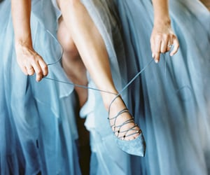 blue, dress, and shoes image