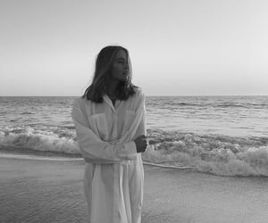 black and white, beach, and girl image
