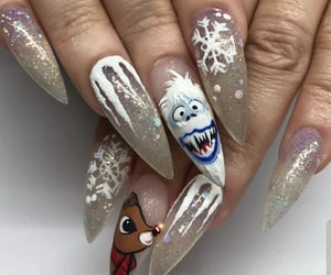 christmas, nails, and stiletto image