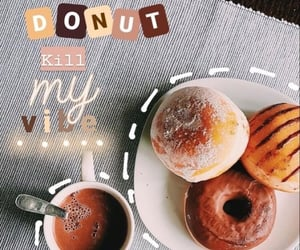 breakfast, coffe, and donut image