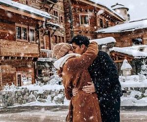 couple, snow, and fashion image