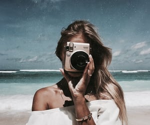 girl, beach, and camera image