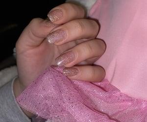 glitter, glitter nails, and pink image