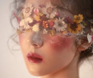 beauty, flowers, and lips image