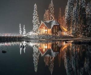winter, house, and lake image