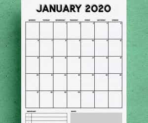 calendar, printable, and 2020 calendar image