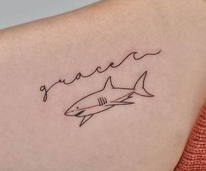 ink, ocean, and shark image